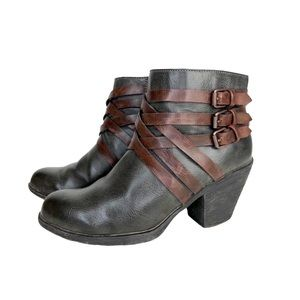 Sofft Leather Booties Strappy Western Block Chunky Heel Black Brown 7.5 Comfy